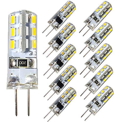 KitaBulb G4 1,5W LED Lampen, 24 x 3014 SMD, 110 Lumen, Ersatz für 10W Halogenlampen, 12V DC, Kaltweiß, 360° Abstrahlwinkel, LED Birnen, LED Leuchtmittel, 10er Pack - Lumen Glühlampe Baugruppe