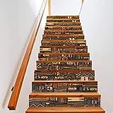 Manyo. 13 Pcs Sticker Carrelage, Stickers Escalier Carreaux Autocollants 3D- Texte en Bois, DéCoration Murale Contremarche Escalier Adhesif en PVC 18 x 100 cm