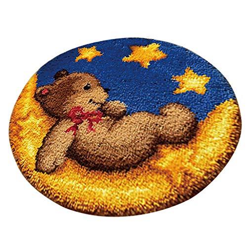 B Baosity Knüpfteppich für Kinder und Erwachsene zum Selber Knüpfen Teppich Weihnachten Geschenk - Spielzeug bär