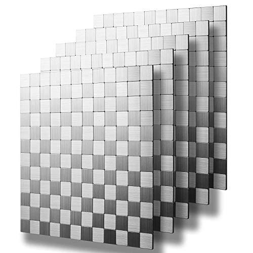 HomeyStyle 30,5 x 30,5 cm, klein, quadratisch, zum Abziehen und Aufkleben von Fliesen, Metall, für Küche, Badezimmer, Herd, Wände, selbstklebend, Metall, Mosaikfliesen, 3D-Wandaufkleber, 5 Stück -