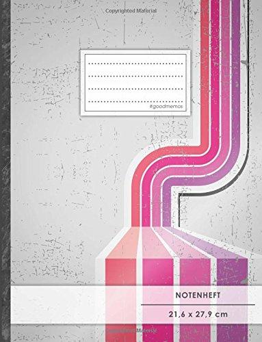 """Notenheft: DIN A4 • 48 Seiten, 24 Blatt, 12 Systeme, """"Gestreift"""" • Original #GoodMemos Schulheft • Mit Inhaltsverzeichnis und Seitenzahlen, Noten-Lineatur 14"""