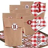 Adventskalender Bastel-Set: 24 kleine braune Kraftpapier Papiertüten 14 x 22 x 5,6 cm + 24 Stück rot weiß karierte Adventskalender-Zahlen rustikal Landhaus Aufkleber von 1 bis 24 selber...
