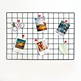 House of Quirk DIY Grid Photo Wall,Multifunction Wall Mounted Ins Mesh Display Panel,Wall Art Display Organizer,Memo Board (45 x 65cm,Black)