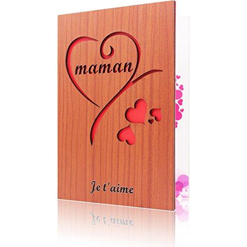Carte de Vœux pour Maman – Carte en bois pour la Fête des Mères – La meilleure carte cadeau de tous les temps