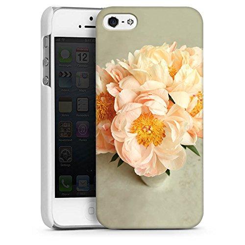 Apple iPhone 5s Housse Étui Protection Coque Fleurs Fleurs Jaune CasDur blanc