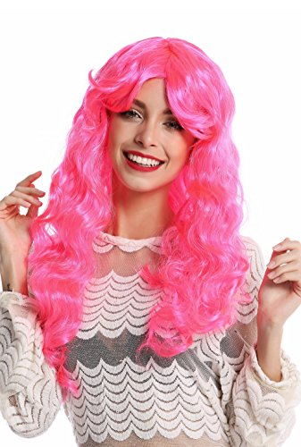 WIG ME UP - 91249-PC5 Perücke Damenperücke Halloween Karneval sehr lang lockig voluminös pink rosa Scheitel