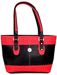 Purpledip Girl's Handbag (Purse): Made of Faux Leather in Stylish Designer Pattern | Rich Feel, High Quality Fashion Accessory with High Utility for Women or Ladies | Colour: Black & Red | (sku # 10252)