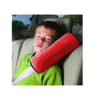 Doyeemei Kind Kinder Kleinkind Auto Sicherheitsgurt Schulterpolster Cover Head Neck Support, rot