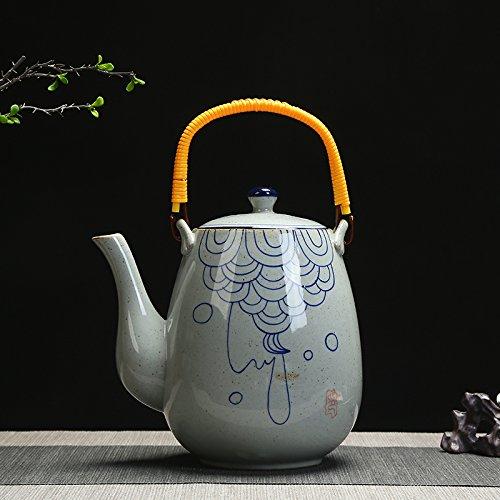 Bezigeorey Céramique Haute Température Rétro Hand-Painted Théière Porcelaine Bleu Et Blanc Plateau Restaurant 2 Litre Ménage Électrique,Trois Style