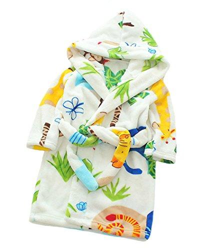 Muster Flanell-pyjama (XINNE Unisex Kleinkinder Kinder Kapuzen Bademantel Jungen Mädchen Morgenmantel Cartoon Tier Pyjamas Flanell-Nachtwäsche Größe 100 Zoo)