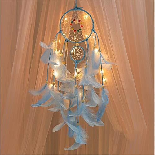 GFEU Atrapasueños hecho a mano con luces LED cálidas, adorno de decoración para la cama del hogar, blanco cálido