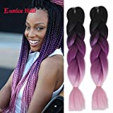 6 Packs Eunice Hair Jumbo Flechten Hair Extensions Colorful Kunsthaar Kanekalon Haar für Heimwerker Crochet Box Zöpfe Ombré Lila 3 Tone Color 100 g/pcs 61 cm (black-purple-pink)