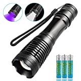 JTENG LED Taschenlampe mit 3 AAA Batterie , 2 IN 1 UV-Taschenlampe,5 Modi 400LM, 395nm Ultraviolett Taschenlampe ,Zum Erkennen von Urinflecken auf Teppichen, zum Einfangen von Skorpionen.