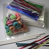 "100pcs (4 1/2"" Lollipop Sticks + Poly Bags + Twist Ties) for Cake Pops"