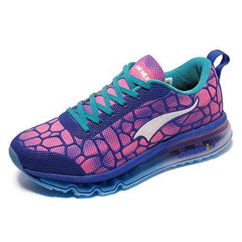fd63e097a97e27 ... Onemix Damen Laufschuhe Air Sneaker mit Luftkissen Turnschuhe  Straßenlaufschuhe Sportschuhe Blau Rot ...