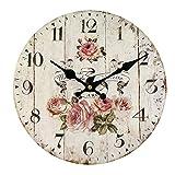HUABEI Horloge Pendule Murale Silencieuse Style Vintage Fleur Diamètre 34 cm (Rose-Vintage, 14inch) (30 cm)