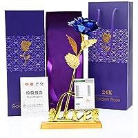 Xuba 24K Folienüberzogene Rose mit Blatt für Hochzeit, Valentinstag, Geburtstag, Neujahr, Dekoration, Geschenk blau