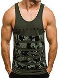 OZONEE Herren Tanktop Tank Top Tankshirt T-Shirt mit Print Unterhemden Ärmellos Weste Muskelshirt Fitness Motiv 171090 Grün L