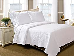 Greenland Home 2-piece La Jolla Quilt Set, Twin, White