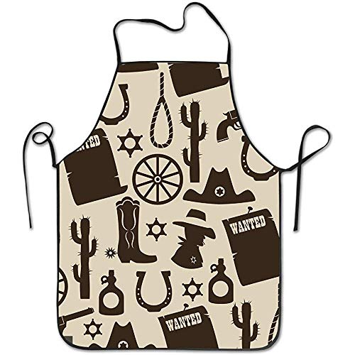 HTETRERW Winfin Western Seamless Pattern Creative Apron for Baking Crafting Gardening Cooking Durable Easy Cleaning Creative Bib for Man and Woman Standar Size