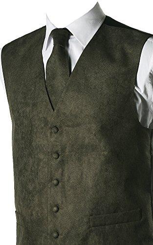 Herren Weste Wildleder-Optik, 10 Farben erhältlich, farblich passende Krawatte erhältlich Grün - Grün