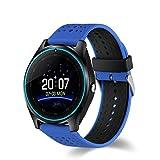 AIYIBEN V9 Bluetooth Smart Watch mit Touchscreen-SIM-Karte Slot Pedometer Hands-Free Call Support mehrere Sprachen für Android Smartphone (Blue)