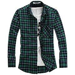 Idea Regalo - Ochenta camicia di flanella da uomo, a maniche lunghe blu N102