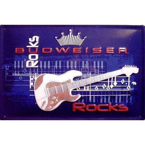 Budweiser Rocks Targa latta metallo Tin Sign scudo 20 x 30 cm