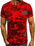 OZONEE Mix Herren T-Shirt Aufdruck Camouflage Motiv Kurzarm Rundhals Figurbetont JS/SS395 Rot L
