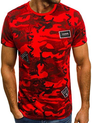 OZONEE Mix Herren T-Shirt Aufdruck Camouflage Motiv Kurzarm Rundhals Figurbetont JS/SS395 ROT M