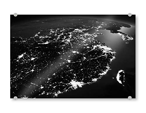 artboxONE Acrylglasbild 60x40 cm Städte China-Nachtansicht vom Raum Bild hinter Acrylglas - Bild Foto Raumfahrt NASA