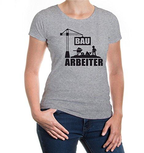 buXsbaum® Girlie T-Shirt Bauarbeiter Heathergrey-Black