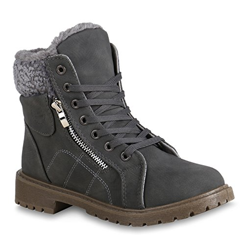 Damen Schuhe Stiefeletten Outdoor Worker Boots Warm Gefüttert Zipper 153618 Grau Brooklyn 38 | Flandell® (Winter Damen Schuhe)