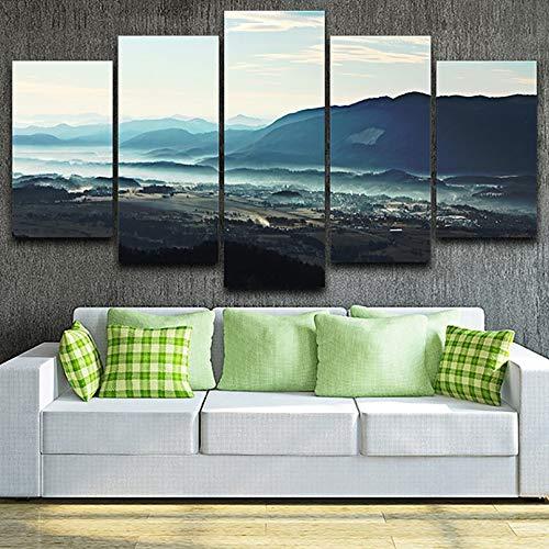mmwin Wohnzimmer HD Wohnkultur Gedruckt Bilder 5 Panel Tal Nebel Landschaft Moderne Leinwand Wandkunst Modulare Poster