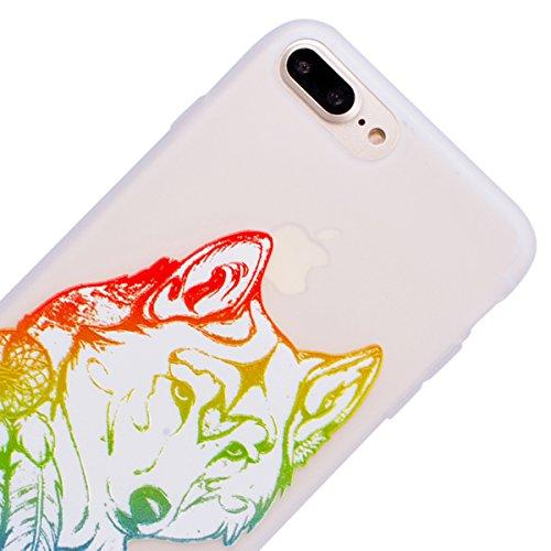 WE LOVE CASE Coque iPhone 7/ iPhone 8, Souple Gel Coque iPhone 7 Silicone Motif Fine Coque Girly Resistante, Coque de Protection Bumper Officielle Coque Apple iPhone 7 iPhone 8 Fleur D'Éléphant Loup