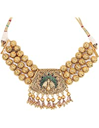 Johareez White Glass & White Synthetic Pearl Gold Plated Green & Maroon Enamel Peacock Shape Necklace Set