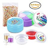 Slime, LOYO 22.9 Ounce Slime Kit Including 6OZ Stretchy Mixed Fluffy Slime and Blue Slime, 2 Pack Crystal Slime, 2 Bottles Glitter Shaker Jars&Colorful Foam Beads, Stress Relief Toys for Kids&Adults