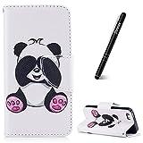Slynmax Coque iPhone 5/5S/SE, Étui en PU Cuir Panda Motif Peint Mode Housse Portefeuille Case de Protection Magnétique avec Emplacement de Cartes Fonction de Support pour iPhone 5/5S/SE