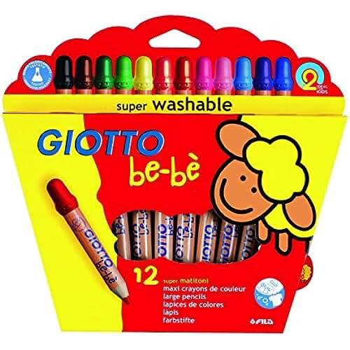 mas dibujos kawaii Giotto be-bè 466500 - Estuche 12 súper lápices de colores (mina de 7 mm diámetro, capuchón posterior de seguridad anti-mordedura, anti ahogo y sacapuntas), multicolor
