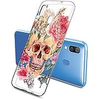 Suhctup Transparente Funda Compatible con Samsung Galaxy A60,Carcasa Protectora de TPU Ultradelgada Flor y Calavera Diseño Anti-Choques Resistente Case Cover para Samsung Galaxy A60(2)