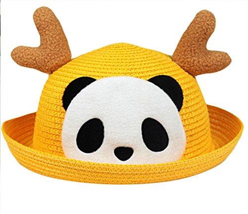Moolecole Enfants Chapeau De Paille Dessin Animé Panda Antlers Chapeau Enfant Chapeau De Soleil Mignonne Enfant Casquette Jaune