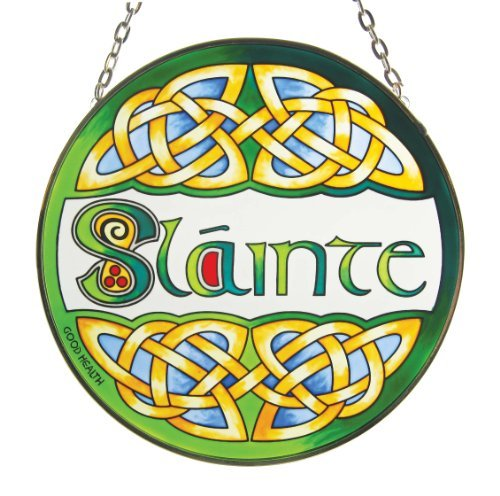 Irish Slainte Suncatcher - Irish stained glass window hanging. Irish gift designed in Galway Ireland. by Royal Tara