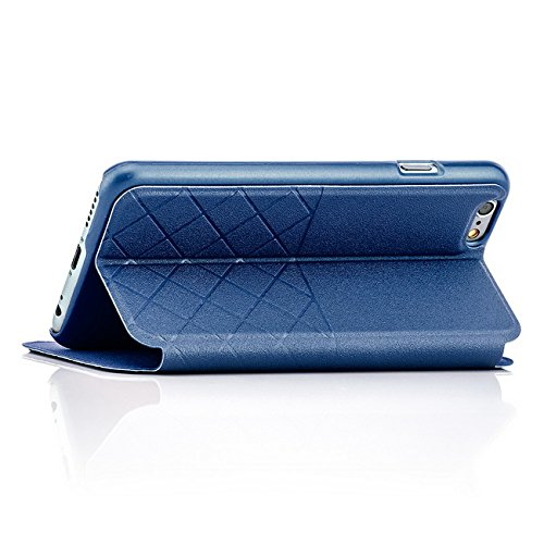 Saxonia Tasche + Panzerglas Apple iPhone 6 / 6S Hülle Case Flip View Cover Edle Schutzhülle mit Fenster Pink Blau + Glas