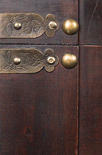 FD00387Truhe, Holztruhe, Schatzkiste,Kiste, Piratenkiste, Kleinmöbel, Mit Metallbeschlägen, Antikoptik, Holz, verschieden Größen, Maritim, Deko, Hochwertig, Kolonialtruhe, Kolonialstil, Holzbox, Truhe mit ornamenten und Lederriemen . Gr. L bis XXL (Größe XXL 70cm x 45cm x 48 cm) -
