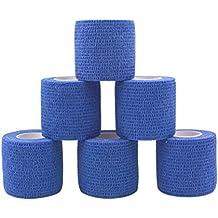 comomed–Vendaje (5cm, 6rollos adhesivo rollo de venda cinta Flexible vendaje deportivo no tejido cohesivo Alleray prueba azul rollos