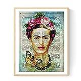 Frida Kahlo Rahmen mit der Definition von Kunst. Plakat mit Bild von Frida Kahlo mit blauem Hintergrund in A3 Kunstdruck des mythischen Malers Frida Kahlo. Definitionsblatt. Inneneinrichtung. Rahmen zum Rahmen. Papier 250 Gramm hohe Qualität. Dekorieren Sie Ihr Wohnzimmer, Schlafzimmer oder machen Sie das perfekte Geschenk.