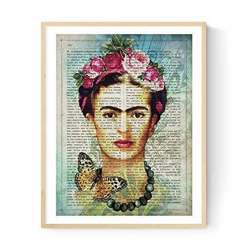 Lámina para enmarcar Frida Kahlo con la definición de Arte. Poster con imágen de Frida Kahlo con fondo azul en A3