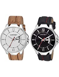 CARTNEY Analog Combo Pack Of 2 Black Dial Day & Date Wrist Watch For Men & Boy's - BLT-BKM1
