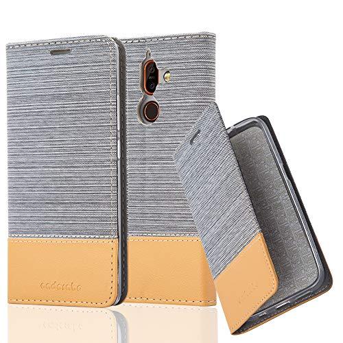Cadorabo Hülle für Nokia 7 Plus - Hülle in HELL GRAU BRAUN - Handyhülle mit Standfunktion & Kartenfach im Stoff Design - Case Cover Schutzhülle Etui Tasche Book