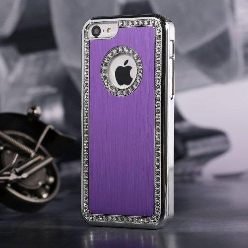 Smart Style Iphone 4/4S Deluxe Purple brushed aluminum diamond case bling cover for iphone 4/4S
